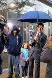 Meteorologist Jeff Smith reporting Hurricane Sandy Stock Photo