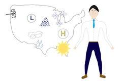 Meteorologo che sta davanti alla mappa degli Stati Uniti con le icone del tempo Fotografie Stock