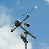 Meteorology. Measuring equipment over blue cloudy sky Royalty Free Stock Photography