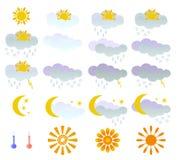 Meteorology  elemets. Set of  weather forecast elements isolated on white background Stock Photos