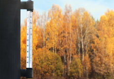 Meteorology, forecasting and autumn weather season concept - thermometer and yellow trees forest over glass window. Meteorology, forecasting and autumn weather Royalty Free Stock Photos