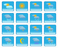 Meteorology icons. Set of  icons of weather forecast elements Stock Images