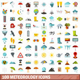 100 meteorology icons set, flat style. 100 meteorology icons set in flat style for any design vector illustration Stock Photos