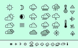Meteorology Icons. Wheater icos set, vector icons Royalty Free Stock Images