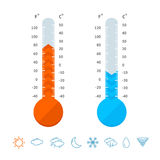 Meteorology Thermometer Set and Weather Icons. Vector. Meteorology Thermometer Set and Weather Icons Element Climate Control Scale Temperature. Vector Royalty Free Stock Photography