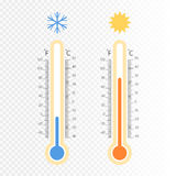 Meteorology thermometers . Cold and heat temperature. Vector illustration. Royalty Free Stock Image
