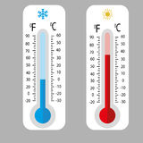 Meteorology thermometers . Cold and heat temperature. Vector illustration. Celsius and fahrenheit Stock Images