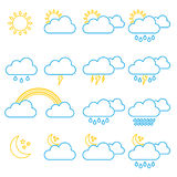 Meteorology, weather and climate  icons. Stock Images