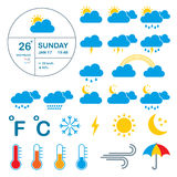 Meteorology, weather and climate  icons. Royalty Free Stock Images