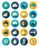 Meteorology Weather flat icons set Royalty Free Stock Photo