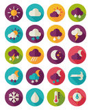 Meteorology Weather flat icons set Stock Images