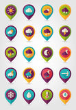 Meteorology Weather flat pin map icons set Royalty Free Stock Images