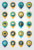 Meteorology Weather flat pin map icons set Royalty Free Stock Photography