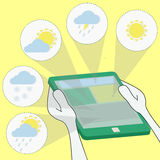 Meteorology and weather forecast through the tablet Stock Images