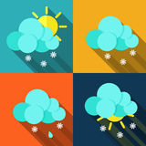 Meteorology weather icons with modern design Royalty Free Stock Image