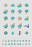 Meteorology Weather icons set Stock Photos