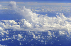 Meteorology, Weather pattern with cumulus clouds. At high altitude Royalty Free Stock Photos