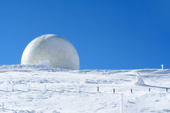 Meteorology - Weather station. Weather station, high on a mountain top under snow. Meteorology concept Stock Image