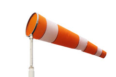 Meteorology windsock. Inflated by wind, isolated on white background Royalty Free Stock Photo