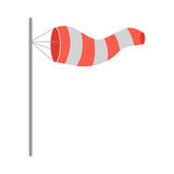 Meteorology Windsock Inflated by Wind. Vector. Meteorology windsock inflated by wind. Red and white windsock indicate the direction and strength of the wind Stock Photo