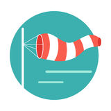 Meteorology Windsock Inflated by Wind. Vector. Meteorology windsock inflated by wind. Red and white windsock indicate the direction and strength of the wind Royalty Free Stock Photos