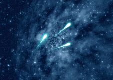 Meteors in Abstraction space Royalty Free Stock Photo