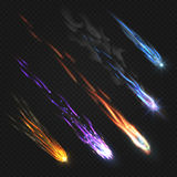 Meteors comets and fireballs with fire trails  vector set. Color asteroid graphic in space, meteor fire with trail illustration Stock Photo