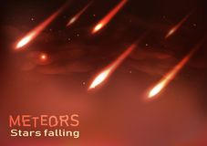 Meteors falling stars shooting astronomy flame burning sparkles stock illustration