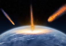 Meteors hitting the Earth vector illustration