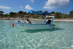 Boat rent in Vourvouru Greece. Meteors monasteries in Greece in high mountains Royalty Free Stock Photos