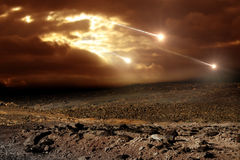 Meteors to the sky. Some meteors rain from the sky through clouds Royalty Free Stock Photo