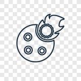 Meteorytu pojęcia Spada wektorowa liniowa ikona odizolowywająca na transpa ilustracji