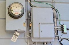 Meter. Electrical Meter, phone, cable and home security box stock image