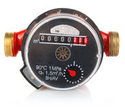 Meter for accountability quantity water. On white background Stock Photos