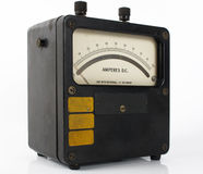 Meter for amps. Vintage ampere meter measuring direct and indirect current Stock Photo