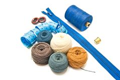 Meter and balls of yarn Stock Photos