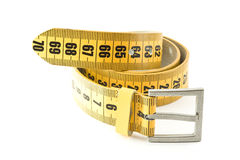 Meter belt slimming. Isolated on a white background royalty free stock photos