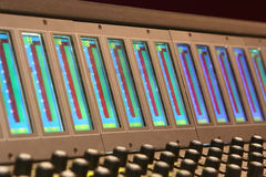 Meter Bridge. Meters on a film mixing console Stock Photography