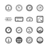 Meter, control panel, speedometer vector icons set Royalty Free Stock Photography