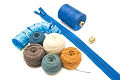 Meter and different balls of yarn Stock Image