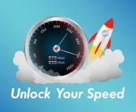 Meter för internethastighetsprov med raket Royaltyfria Bilder
