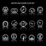 Meter and gauge icon set for control panel. Vector car speedometers signs. Auto indicator and pointer, tachometer and speedometer illustration Stock Images