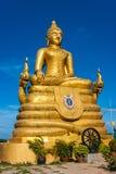 12 Meter hohe große Buddha-Bild, gemacht von 22 Tonnen Messing in Phu Stockfoto