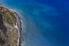 600 Meter hohe Klippen von Gabo Girao in Madeira-Insel, Portugal Stockfotografie