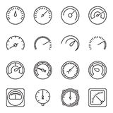 Meter icons. Symbols of speedometers, manometers, tachometers, etc. Stock Images