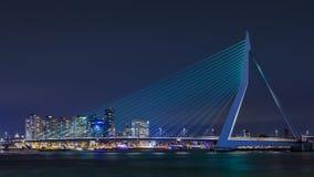 The 800 meter long iconic Erasmusbrug at night, Rotterdam, Netherlands. ROTTERDAM- FEBRUARY 14, 2018. The Erasmus Bridge at night. The 284m long bridge was Stock Photo