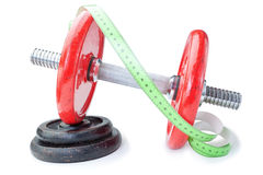 Meter for measurements on dumbbells for fitness. Royalty Free Stock Photography