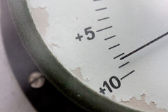 Meter needle of the old barometer Stock Photos