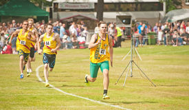800 meter race at Forres. Australian runner winning the 800 meter race at Forres Highland Games on 6th July 2013 Royalty Free Stock Photos