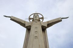30 meter sculpture of Jesus Christ on the Mount Nyo. Vung Tau, Vietnam. VUNG TAU, VIETNAM - DECEMBER 22, 2015: 30 meter sculpture of Jesus Christ on the Mount Royalty Free Stock Photo